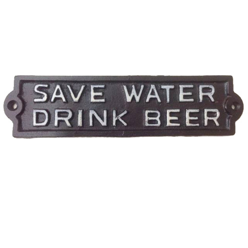 Save Water Drink Beer Wall Plate Cast Iron 8.75 Inches