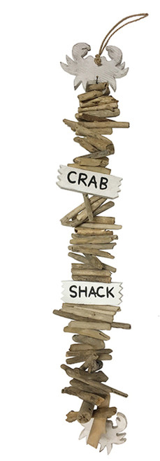 Crab Shack Carved Wood with Driftwood Garland 41 Inches