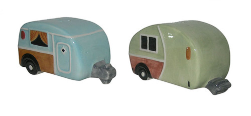 Campers Salt and Pepper Shakers 3.5 Inches Green and Blue