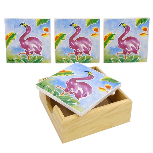 Flamingos and Palm Fronds Drink Coasters Painted Porcelain Set of 4 with Holder