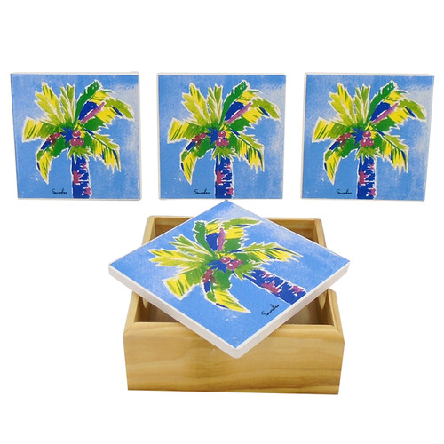 Palm Tree on Blue Drink Coasters Painted Porcelain Set of 4 with Holder