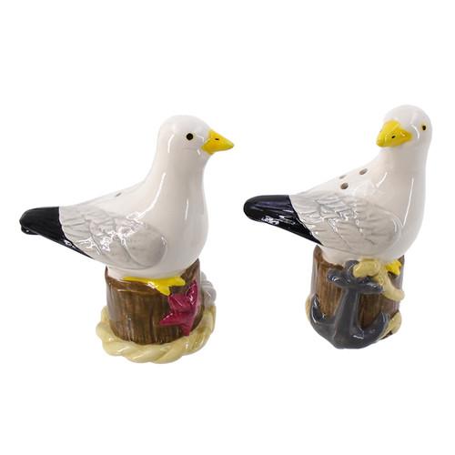 Seagulls Sitting on Pilings Salt and Pepper Shaker Set Dolomite