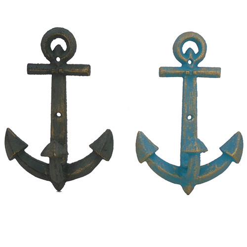 Anchor Wall Hooks Set of 2 Painted Cast Iron 7.5 Inches