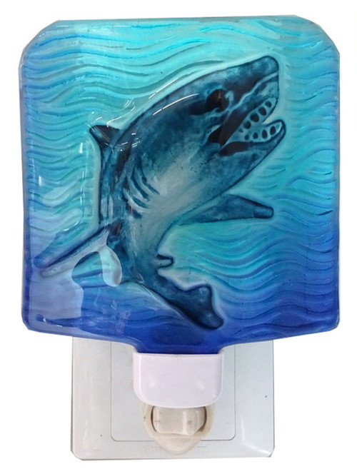 Shark in Deep Blue Waters Electric Night Light Glass 7 Watt