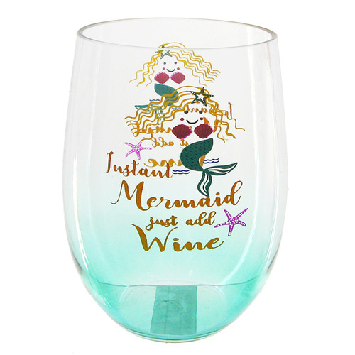Instant Mermaid Just Add Wine Stemless Wine Glass 20 Ounces Acrylic