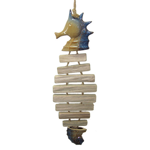 Seahorse Bones Hanging Figurine 21 Inches Wood and Ceramic