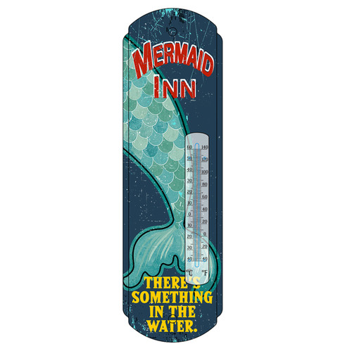 Mermaid Inn Wall Thermometer 17.5 Inches Metal Indoor Outdoor