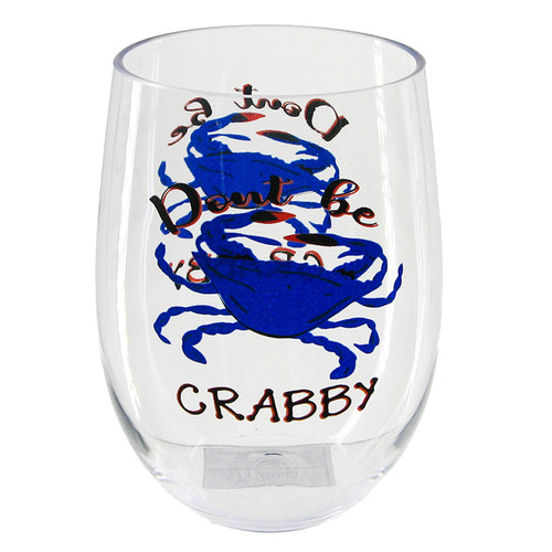 Blue Crab Don't Be Crabby Stemless Wine Glass 20 Ounces Acrylic