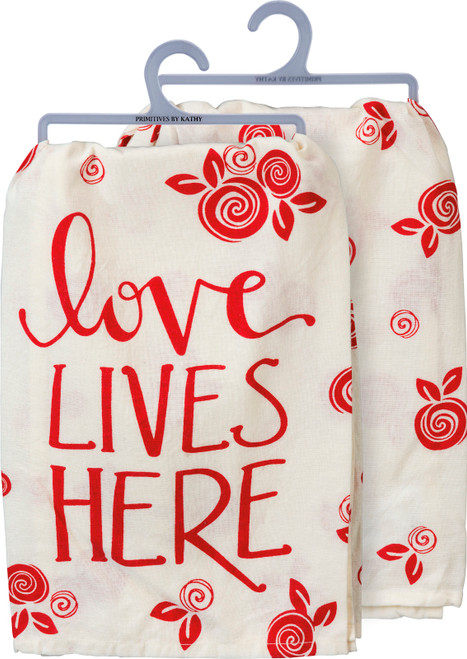 Primitives by Kathy Love Lives Here Red and White Flowers Kitchen Dish Towel