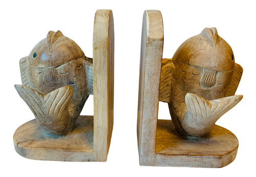 Fish Shaped Bookends Carved Wood Whitewash Finish