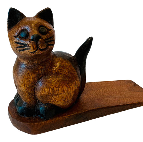 Kitty Cat Doorstop Carved Wood Stained
