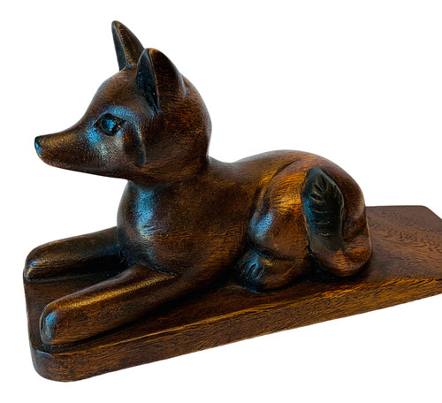Fox Shaped Doorstop Carved Wood Stained Finish