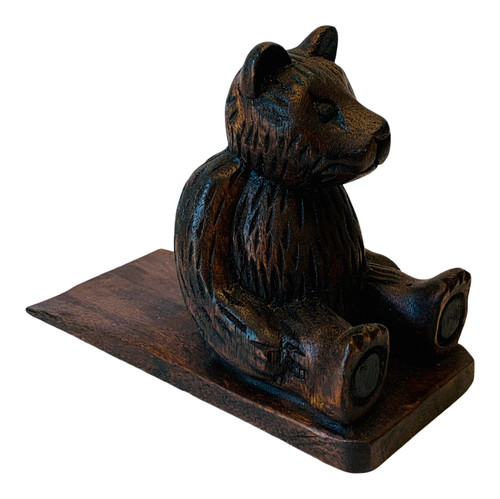 Furry Bear Shaped Doorstop Carved Stained Wood