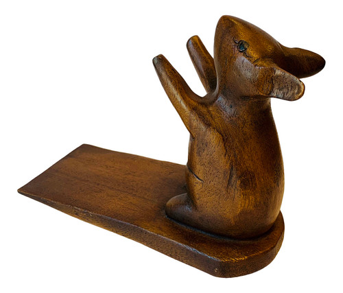 Mouse Doorstop Carved Wood Stained