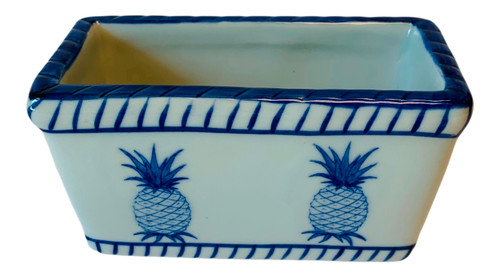 Pineapples Sweetner Container or Tea Bag Holder Porcelain Blue and White