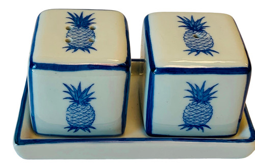 Pineapples Salt and Pepper Shakers with Tray Porcelain Blue and White