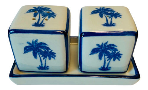 Palm Trees Salt and Pepper Shakers on Tray Porcelain Blue and White