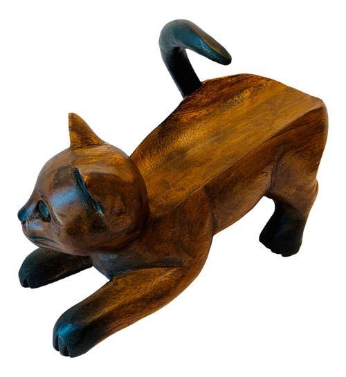 Playful Kitty Cat Wine Bottle Holder Carved Wood Stained