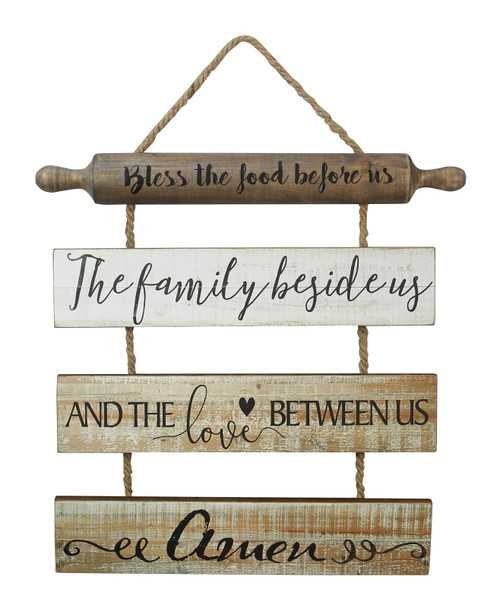 Bless the Food Before Us Blessing Kitchen Dining Room Wall Sign Wood 21.5 Inches