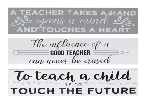 Teacher Touches a Heart Never Erased Touch the Future Block Signs Set of 3 Wood