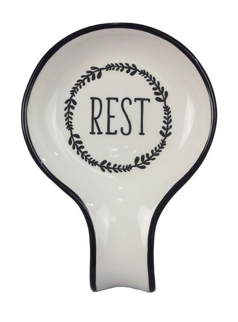 Laurel Wreath Kitchen Spoon Rest Black and White Ceramic