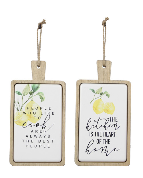 Like to Cook Heart of Home Cutting Board Shaped Lemon Wall Signs Set of 2 Wood