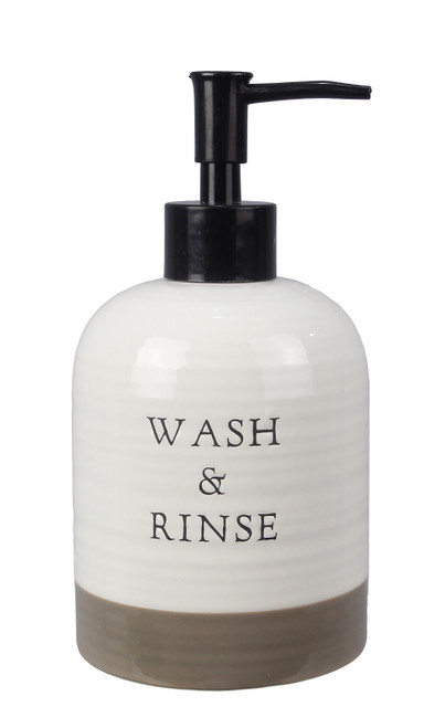 Wash and Rinse Lotion or Soap Dispenser Kitchen or Bath Ceramic Farmhouse Style