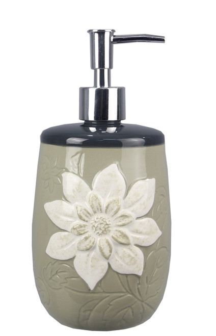 Gray Soap or Lotion Pump Dispenser with Embossed White Flower Ceramic