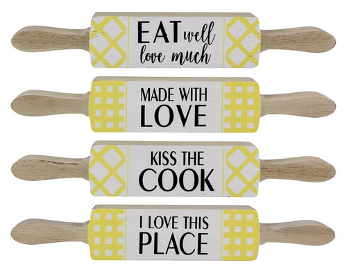 Rolling Pin Shaped Kitchen Table or Shelf Signs 10.25 Inches Set of 4