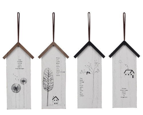 House Shaped Home Sentiments Hanging Signs Set of 4 Wood 9.75 Inches