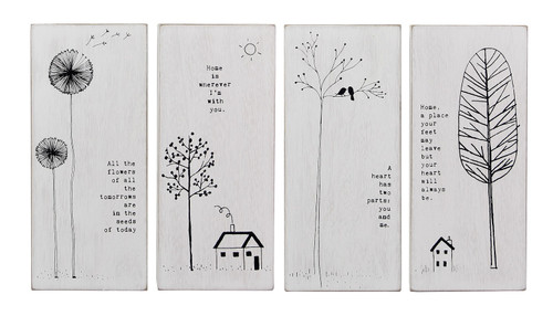 Home Sentiments Block Signs Set of 4 Tabletop or Wall  Decor Wood  6.75 Inches