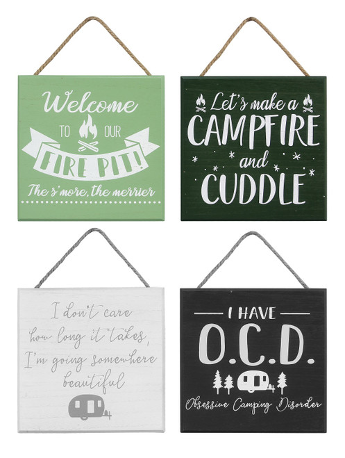 Firepit Camp Fire and Cuddle Camper Wall Signs Set of 4 Painted Wood