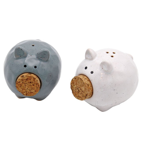 Speckled Pigs with Cork Noses Salt and Pepper Gray and White Porcelain