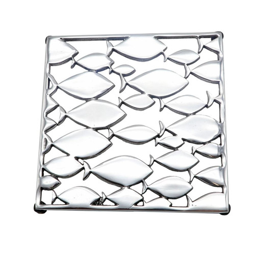 School of Fish Kitchen Square Trivet Aluminum Hot Plate 7.25 Inches
