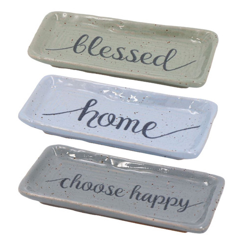 Blessed Home Choose Happy 6 Inch Trinket Dishes Set of 3 Porcelain