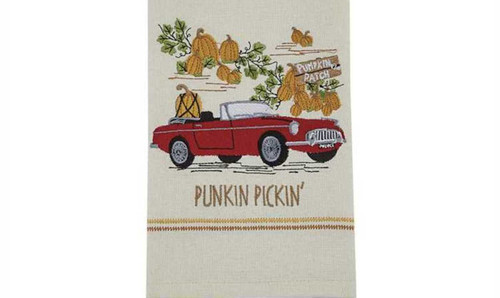 Fall Punkin Pickin Pumpkin Patch  Embroidered Kitchen Dish Towel