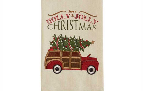 Have a Holly Jolly Christmas Woody Car Holiday Tree Embroidered Dish Towel
