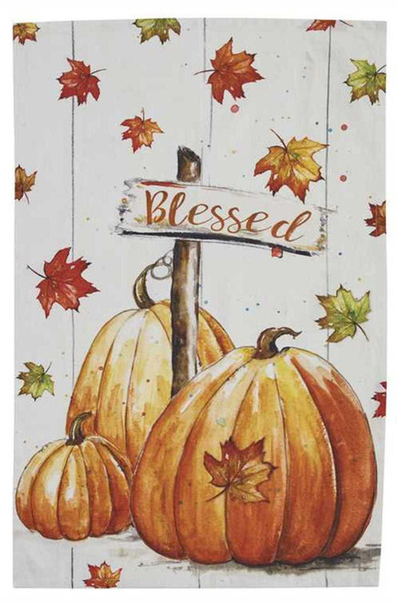 Falling Leaves Blessed Pumpkins Fall Kitchen Printed Dish Towel