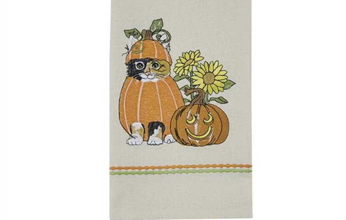 Fall Pumpkin Patch Kitty Embroidered Kitchen Dish Towel