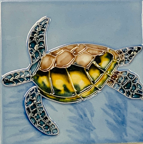 Sea Turtle Swimming in Blue Waters 4X4 Inch Ceramic Tile