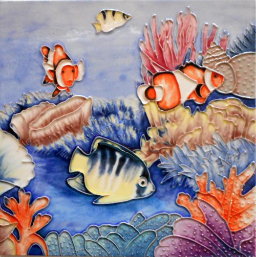 Tropical Fishes Swimming in Coral Reef 8X8 Inch Ceramic Tile