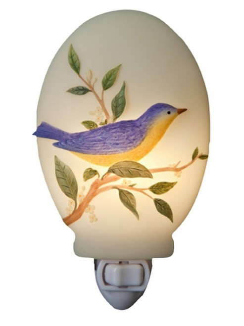 Blue Warbler Bird on Olive Branch Hand Painted Night Light