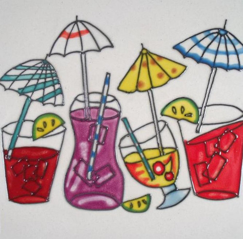 Tropical Drink Glasses With Little Umbrellas Ceramic Tiki Bar Tile Art 6 Inches