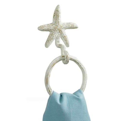 Park Designs Coastal Nautical Starfish Wall Towel Ring Metal Hook Hanger White