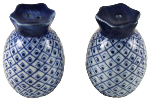 Blue and White Pineapples Porcelain Salt and Pepper Shakers Set