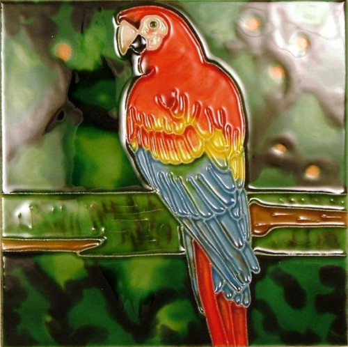 Tropical Scarlet Macaw Parrot 6x6 Inches Ceramic Tile