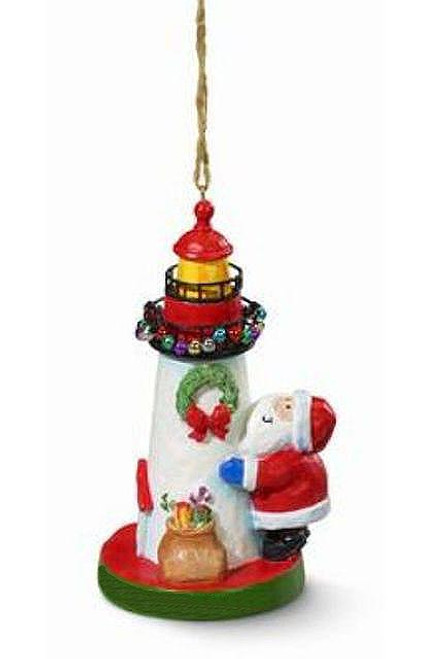 Cape Shore Santa Decorating Lighthouse Nautical Christmas Ornament Resin