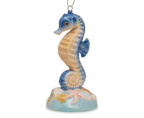 Cape Shore Nautical Ocean Blue Seahorse Starfish Christmas Ornament Ceramic