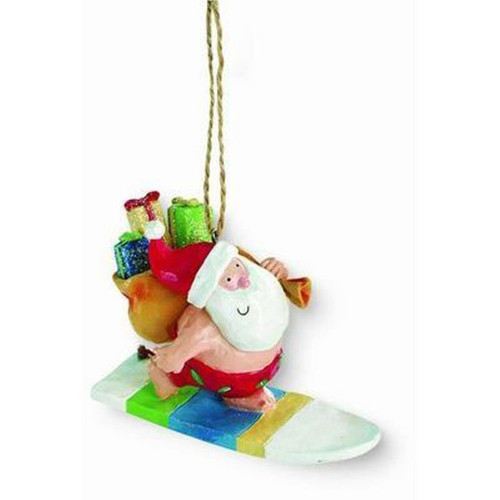 Cape Shore Santa Surfing Ocean Island Holiday Christmas Ornament Resin