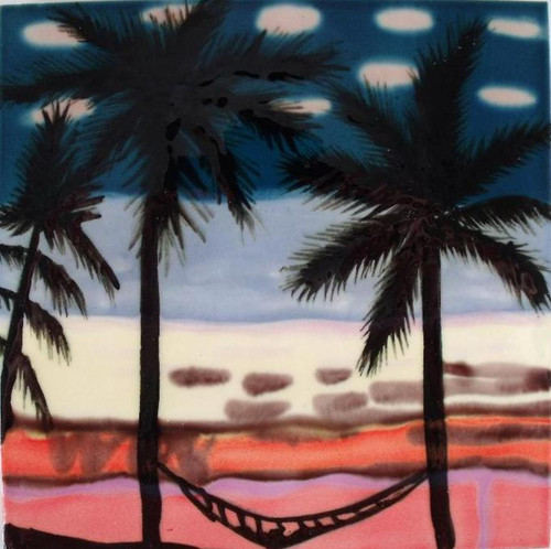 Tropical Beach Palm Trees with Hammock Ceramic Tile 6x6 Inches